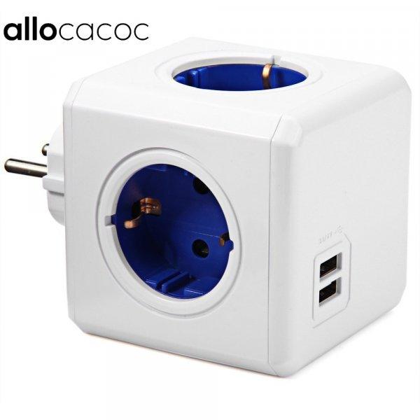 Сетевой фильтр на 4 розетки и 2 usb-порта Allocacoc (3 цвета)