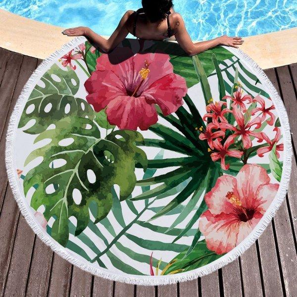 Круглое пляжное полотенце из микрофибры от KALAMENG (15 принтов)