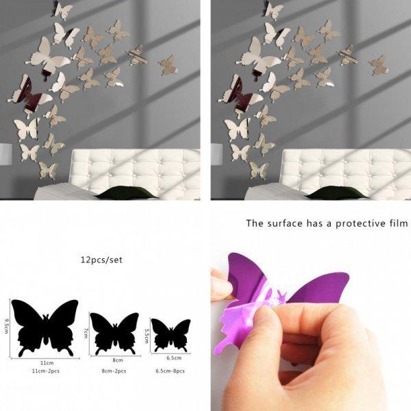 3D зеркальные наклейки  Бабочки (5 цветов)