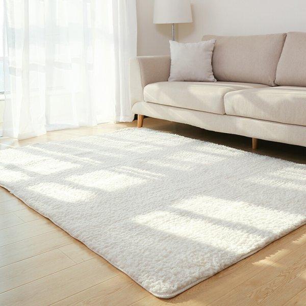 Большой белоснежный ковер с длинным ворсом WINLIFE (9 цветов, 5 размеров)