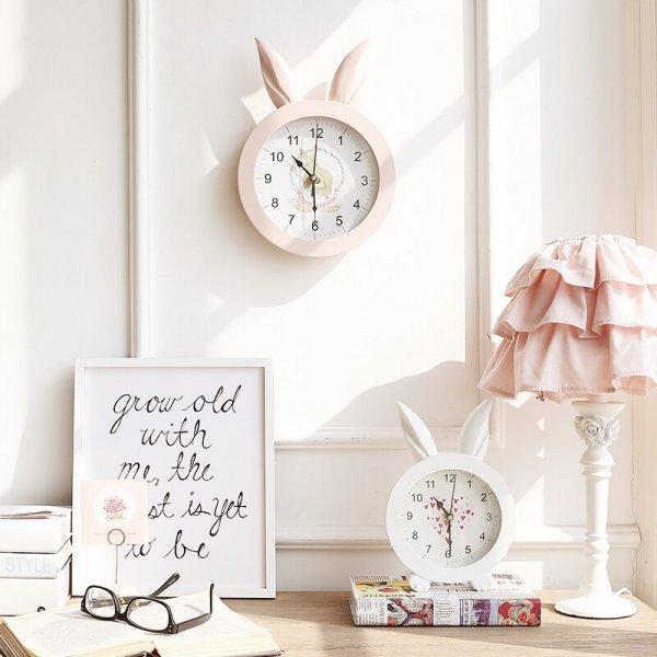 Мимишные часы  для детской в виде Кролика  (2 цвета, 21*30*3.5 см или 16*23*4 см)