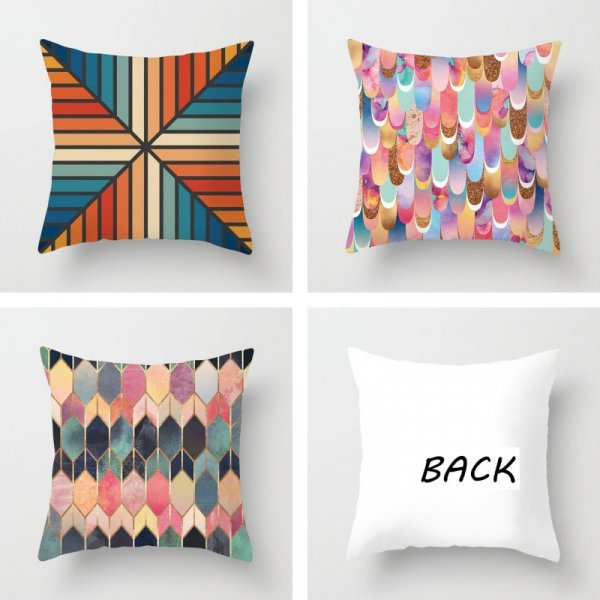 Яркий чехол на подушку с геометрическим рисунком  RUBYLOVE (23 принта)