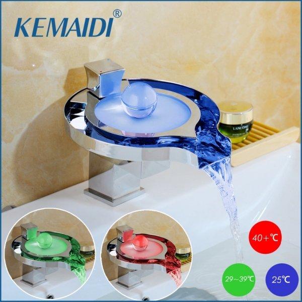 Шикарный смеситель для ванны KEMAIDI (с подсветкой)