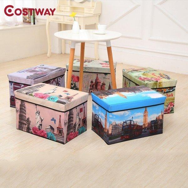Многофункциональный пуфик с ящиком для хранения COSTWAY