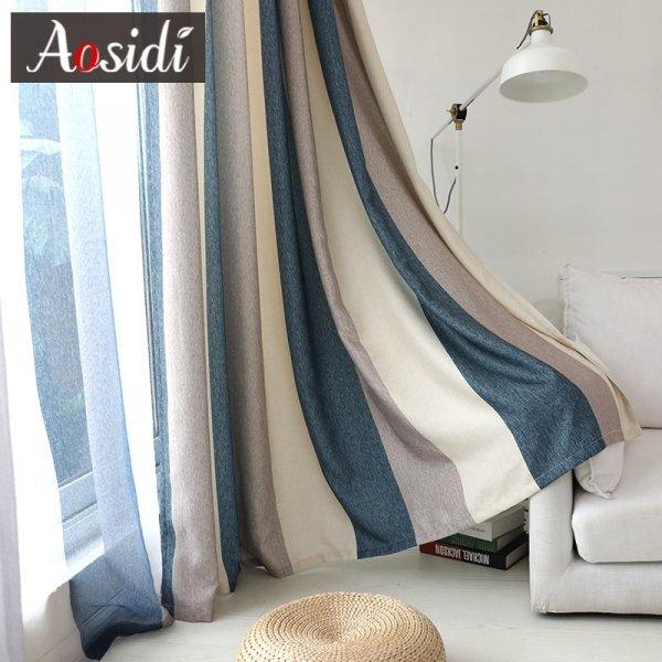 Полосатые шторы в гостиную AOSIDI (14 размеров, 4 цвета)