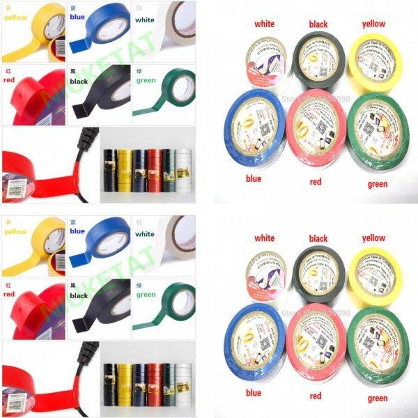 Цветная изолента для электропроводов 3М (6 цветов, винил, 18*10*0.13 мм)