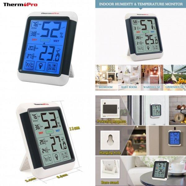 Электронный термометр с часами Thermopro TP55 (11.0*8.5*2.4 см)