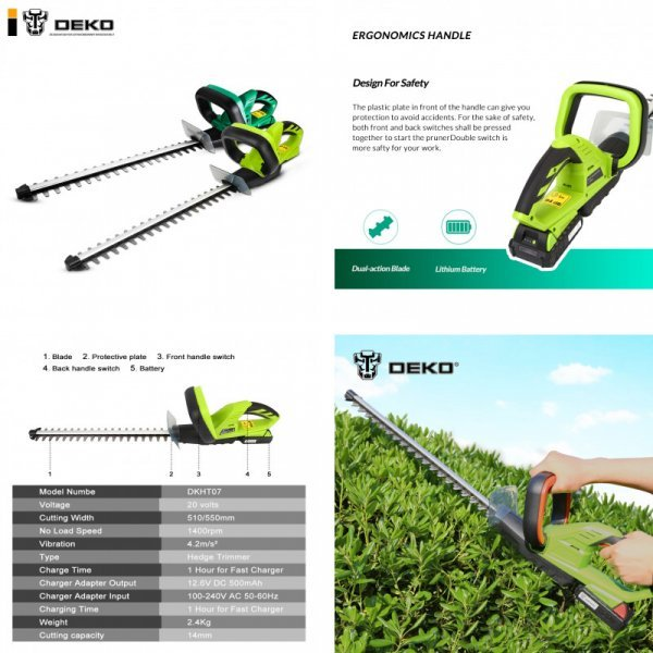Электрический секатор Deko 20 В для кустов и травы (2.4 кг, 1500 мАч)