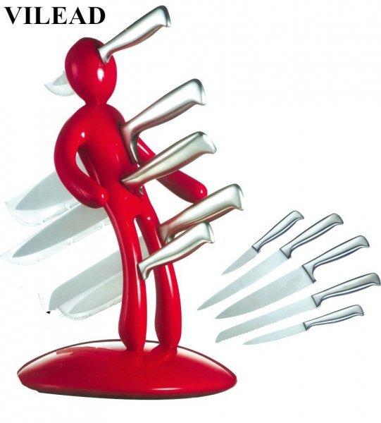 Набор из 5 ножей и держателя от VILEAD (2 цвета)