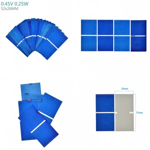 Упаковка панелей для солнечной батареи Aoshike, 100 шт. (0,25 Вт, 0.45 В)