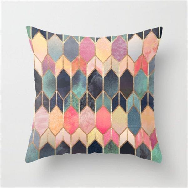 Декоративный чехол для подушки - стильная Геометрия (45*45 см, 24 рисунка)