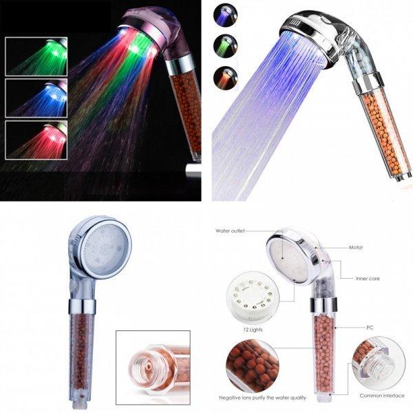 Душевая насадка с керамическим фильтром и светодиодной подсветкой