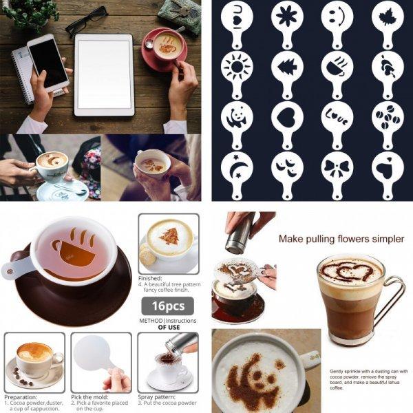 Набор трафаретов для кофе KONCO (16 шт)