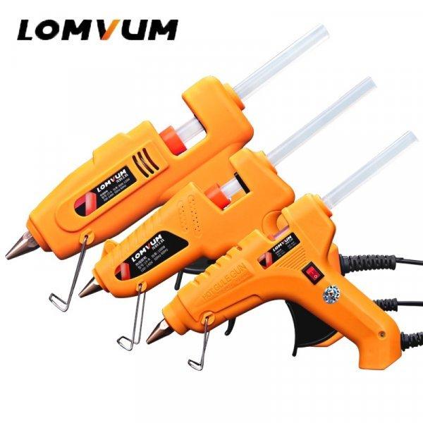 Мощный клеевой пистолет Lomvum  + 10 стержней в подарок (30, 80, 100, 80-120, 150 Вт)