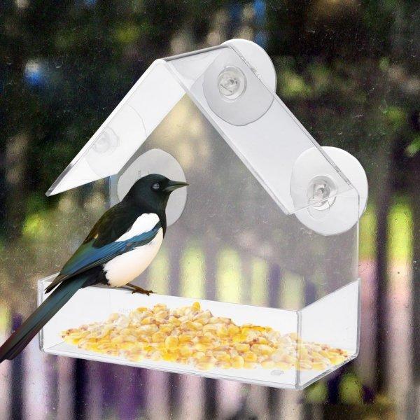 Прозрачная акриловая кормушка для птиц