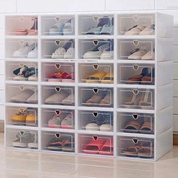 Прозрачные боксы для обуви от INTELITOPIA (6 шт, 2 размера, 5 цветов)