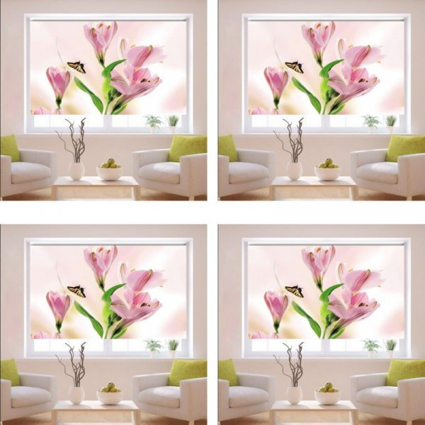 Интерьерные рулонные шторы Цветы с Blackout (11 размеров)