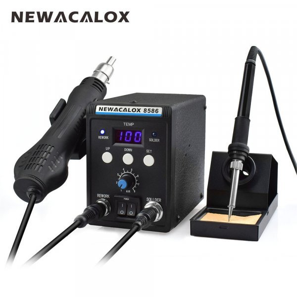 Лучшая паяльная станция с феном NEWACALOX 8586 220 В 700 Вт