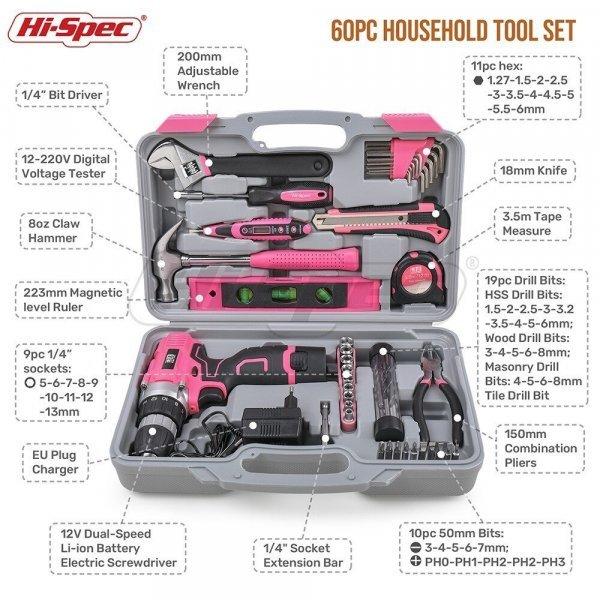 Розовый набор с аккумуляторной отверткой от HI-SPEC (60 предметов)