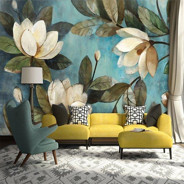 Текстильные обои Цветы для скандинавских интерьеров