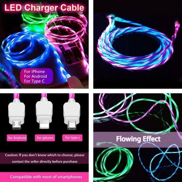 USB-кабель с подсветкой XCEOENM (3 вида, 5 цветов)