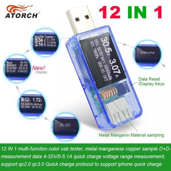 Мультифункциональный USB-тестер 12 в 1 от ATORCH