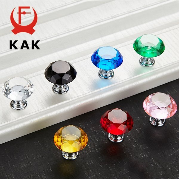 Кристальные ручки для мебели от КАК (7 цветов)