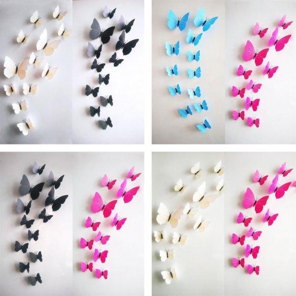 Милые 3d наклейки Бабочки оживят интерьер (12 шт)