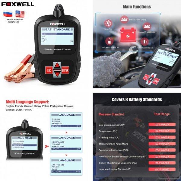 Портативный тестер автомобильного аккумулятора от FOXWELL