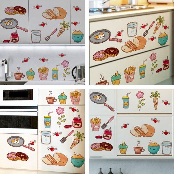 Веселые наклейки Еда для кухни (40*30, 30*57 см)