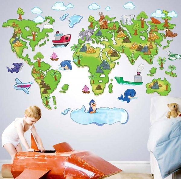 Географический стикер для детской ZOOYO (80*120 см)