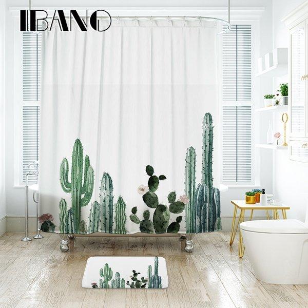 Белоснежная штора для ванной Кактусы (3 принта, 5 размеров)