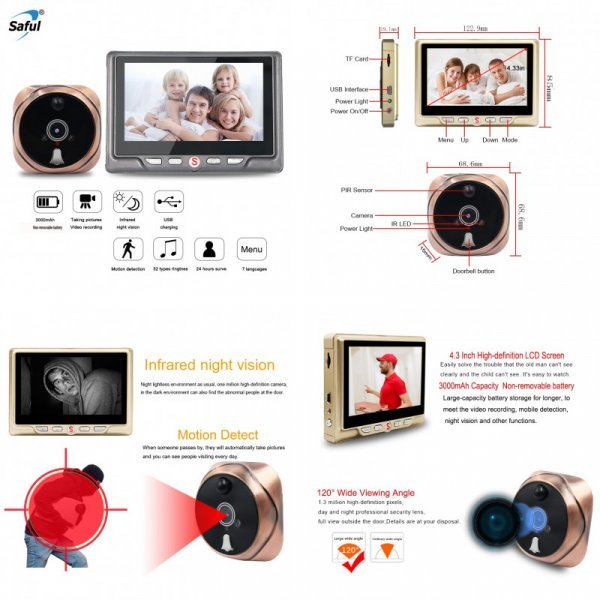 Цифровой глазок видеокамера от SAFUL (4 комплектации)