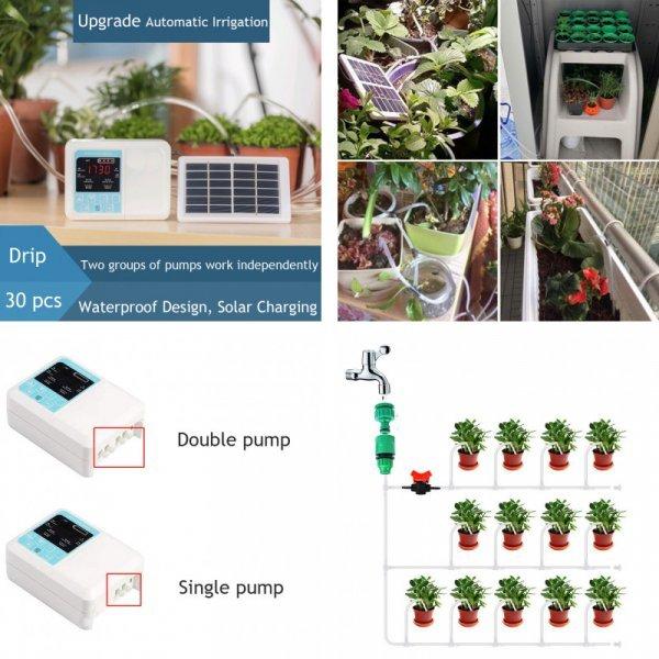 Система с двойным насосом для умного полива огорода, на солнечных батарейках