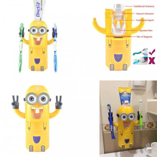 Дозатор зубной пасты и держатель щеток в виде миньона