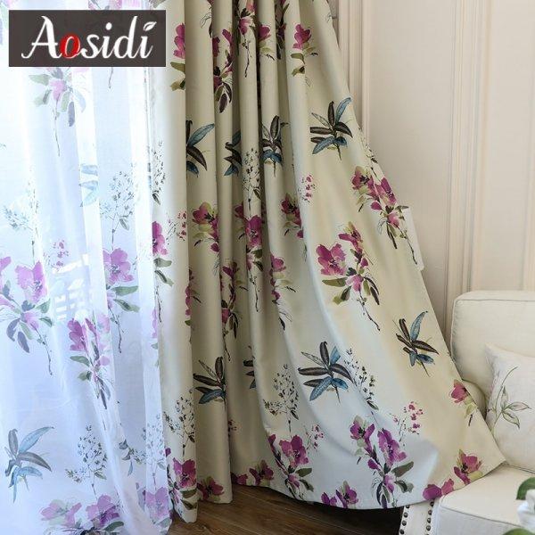 Легкие шторы для гостиной с цветами AOSIDI (4 цвета, 14 размеров)
