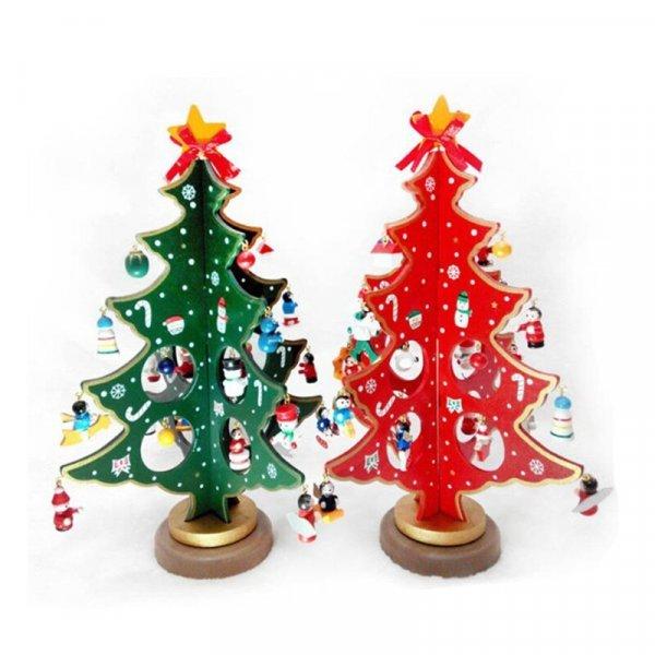 Деревянная елочка с игрушками от HOME & GARDEN (2 цвета, 2 размера)