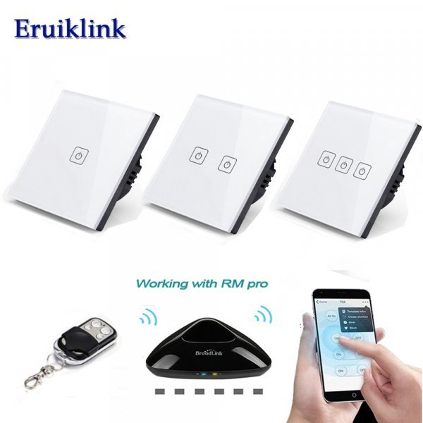 Беспроводной выключатель на стену с пультом ду Eruiklink(1,2,3 клавиши)