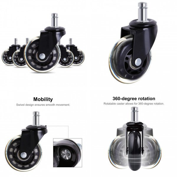 Бесшумные колесики для кресла ACAMPTAR (5 шт)