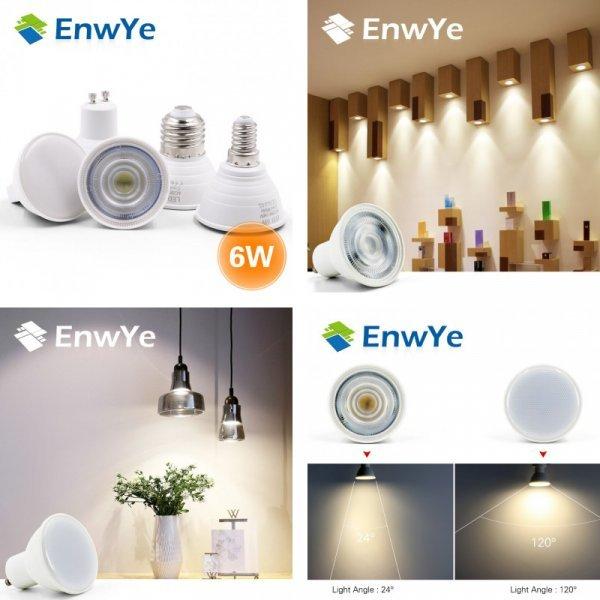 Светодиодная лампа с цоколем E27 E14 GU10 и MR16.  EnwYe