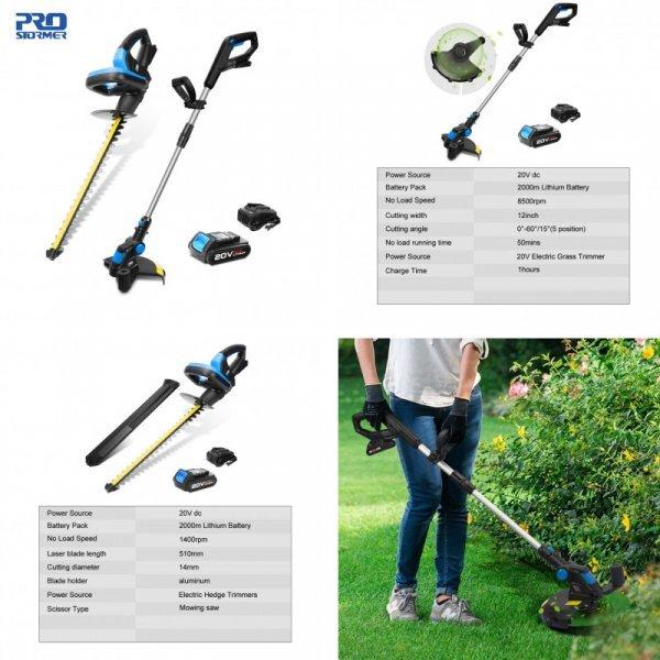 Беспроводные газонокосилка и садовые ножницы от PROSTORMER