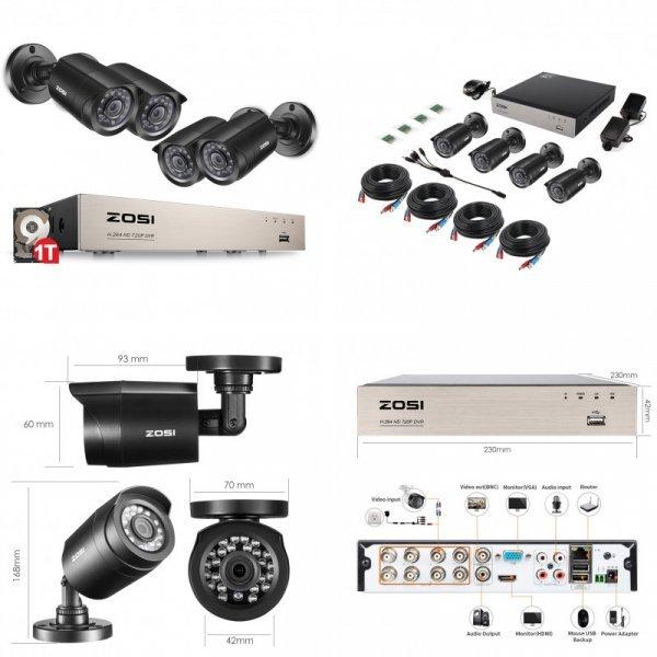 Система с четырьмя 8-канальными камерами Zosi (8CH Network 720P DVR)