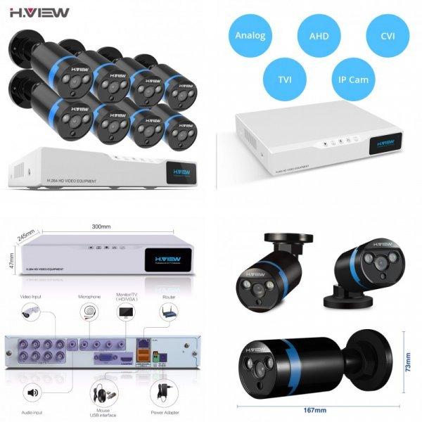 Восемь высокочетких камер в единой системе H.VIEW (Support 320G-4TB 3.5 SATA Hard Disk)