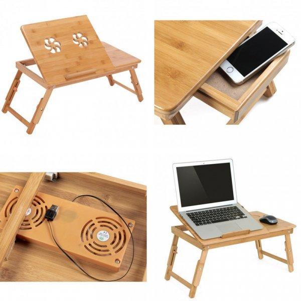 Складной бамбуковый столик со встроенными вентиляторами для ноутбука