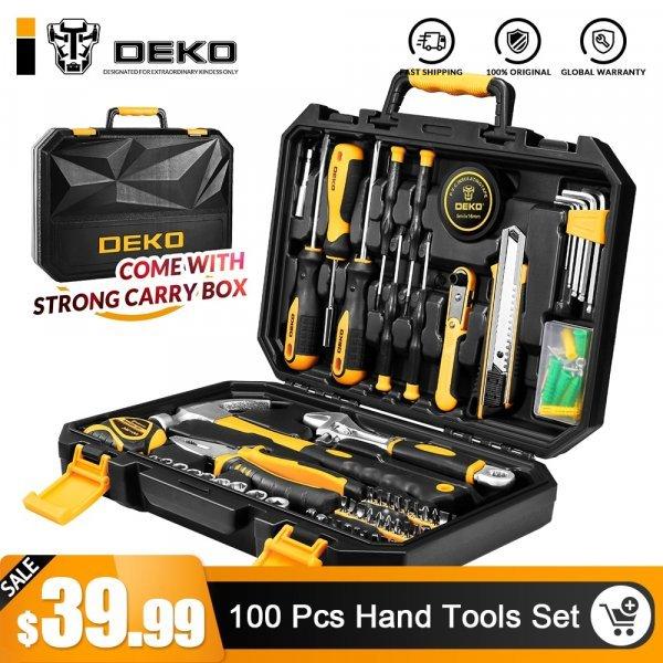 Пластиковый кейс с инструментами от DEKO (100 предметов)