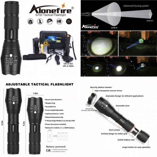 Фонарик AloneFire G700 E17 XM-L T6 водонепроницаемый