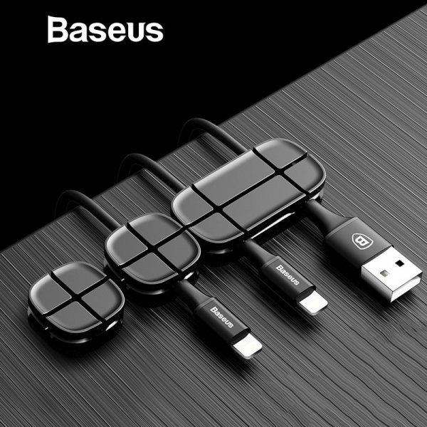 ХИТ! Зажим для проводов BASEUS (3 шт, 4 цвета, 5.0*2.5*1.0 см)
