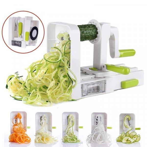 Спиральная терка-шинковка для овощей от VINIPIAK (5 сменных лезвий)