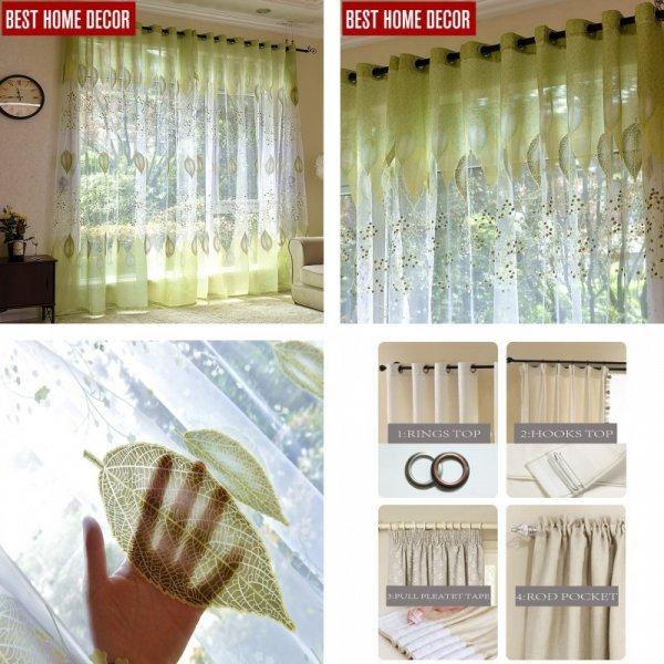 Прозрачные занавески с растительным принтом и вышивкой от ELKA
