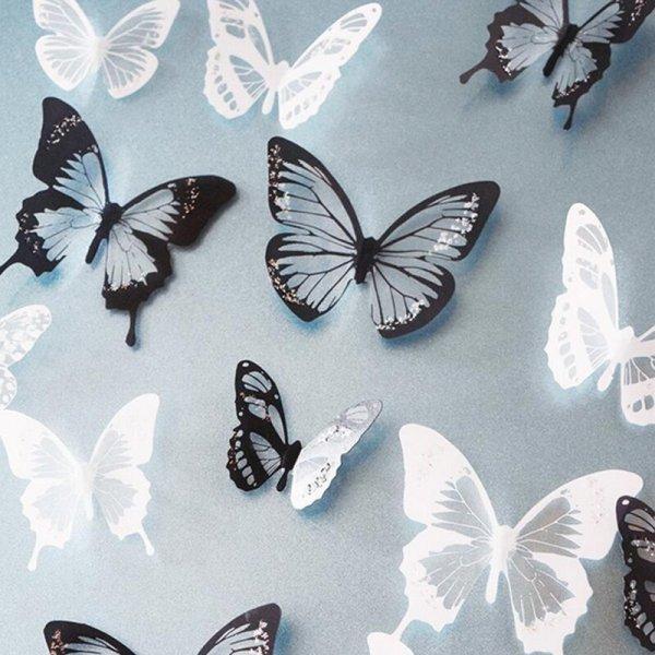 Стикеры на стену Бабочки (18 шт, 4 цвета)